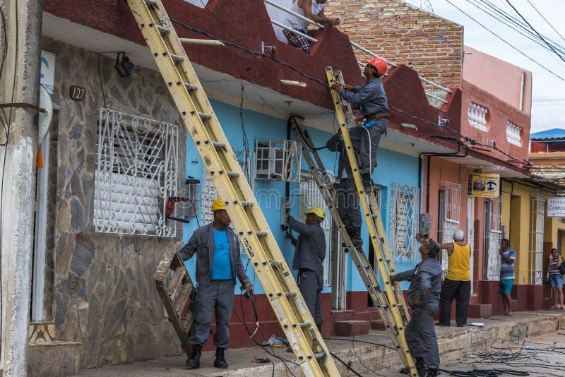 Electricistas en Trinidad fotografía de archivo libre de regalías