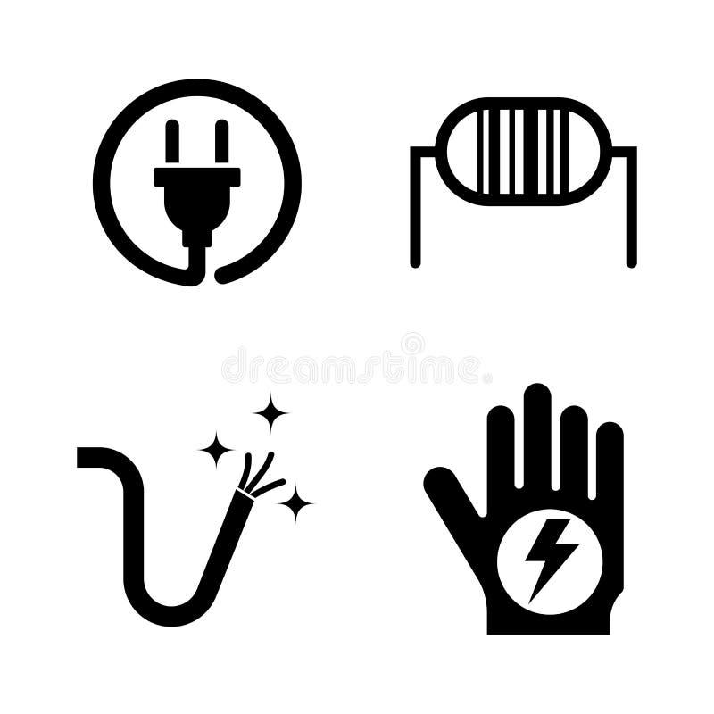 electricity Απλά σχετικά διανυσματικά εικονίδια απεικόνιση αποθεμάτων