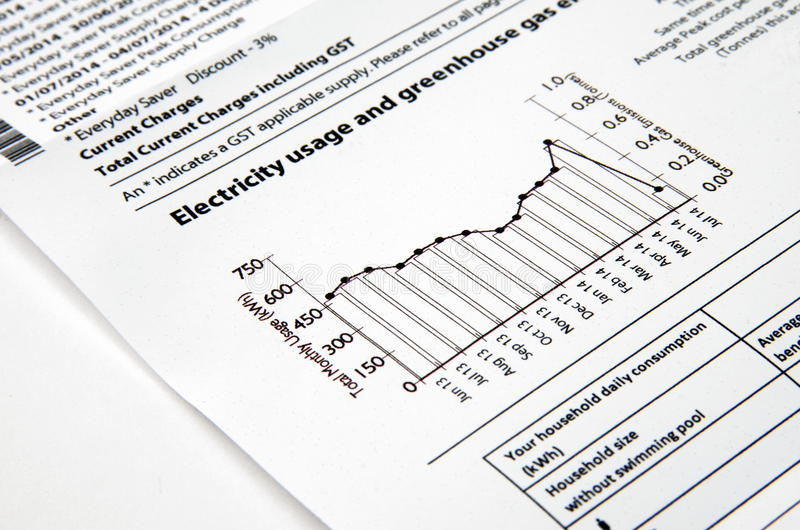 Electricity bill. With graph closeup royalty free stock photos