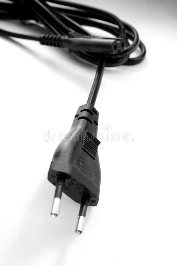 Electricity cable with a plug stock photo