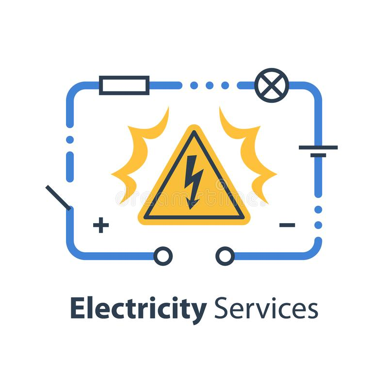 Electricity circuit and high voltage sign, repair and maintenance. Services, vector illustration royalty free illustration