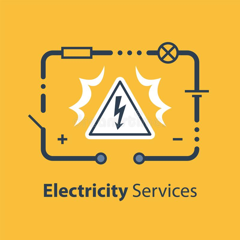 Electricity circuit and high voltage sign, repair and maintenance. Services, vector illustration stock illustration