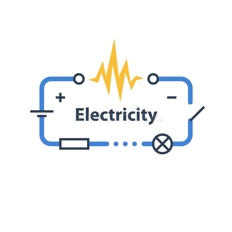Electricity circuit, repair and maintenance, electric chain. Electricity circuit, repair and maintenance services, electric chain, vector illustration royalty free illustration