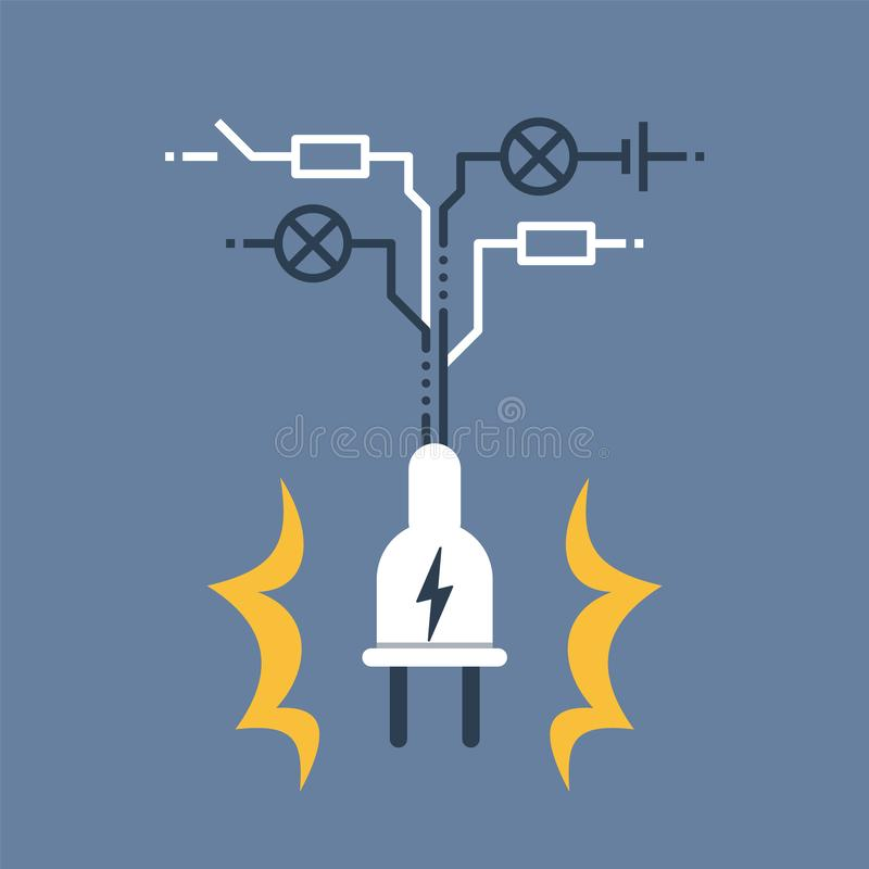 Electricity circuit, repair and maintenance, plug with electrical scheme. Electricity circuit, repair and maintenance services, plug with electrical scheme vector illustration