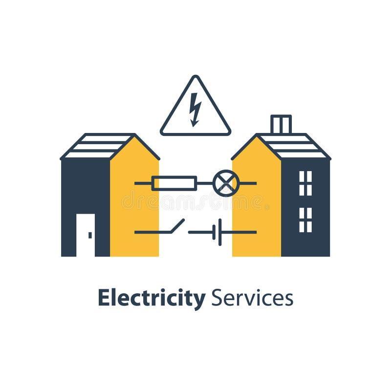 Electricity circuit, repair and maintenance, house with electrical loop. Electricity circuit, repair and maintenance services, house with electrical loop, vector royalty free illustration