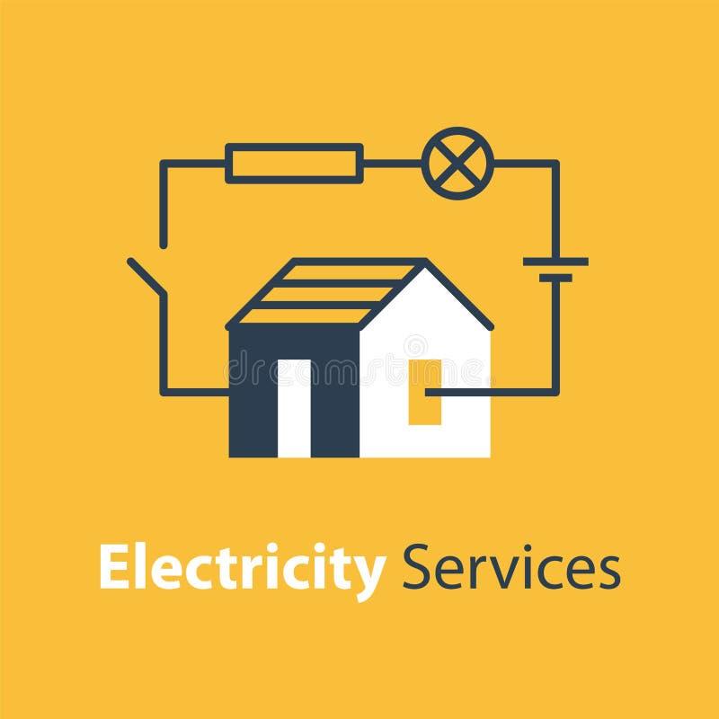 Electricity circuit, repair and maintenance, house with electrical loop. Electricity circuit, repair and maintenance services, house with electrical loop, vector stock illustration