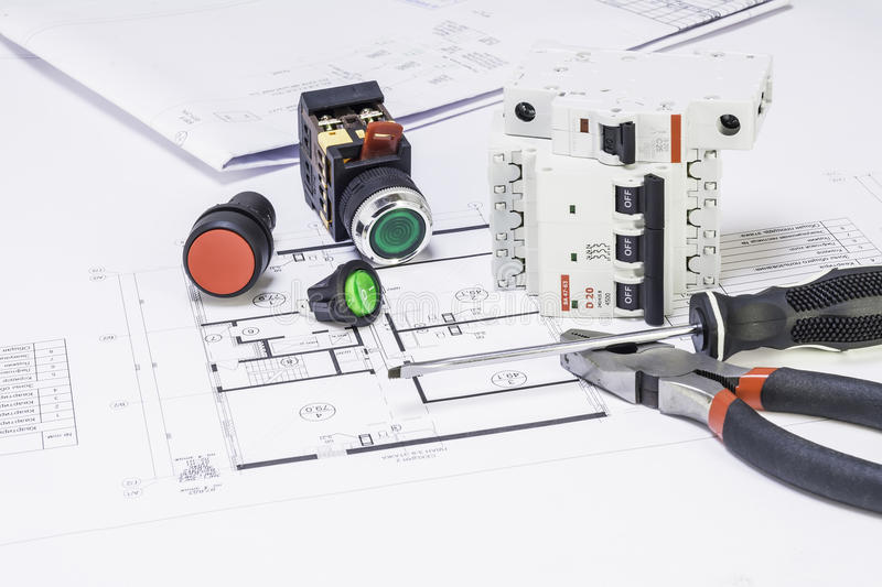 Electricity components stock photos