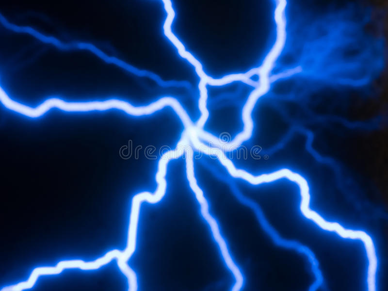 Electricity currents. Picture of random glowing blue electric currents traces stock image