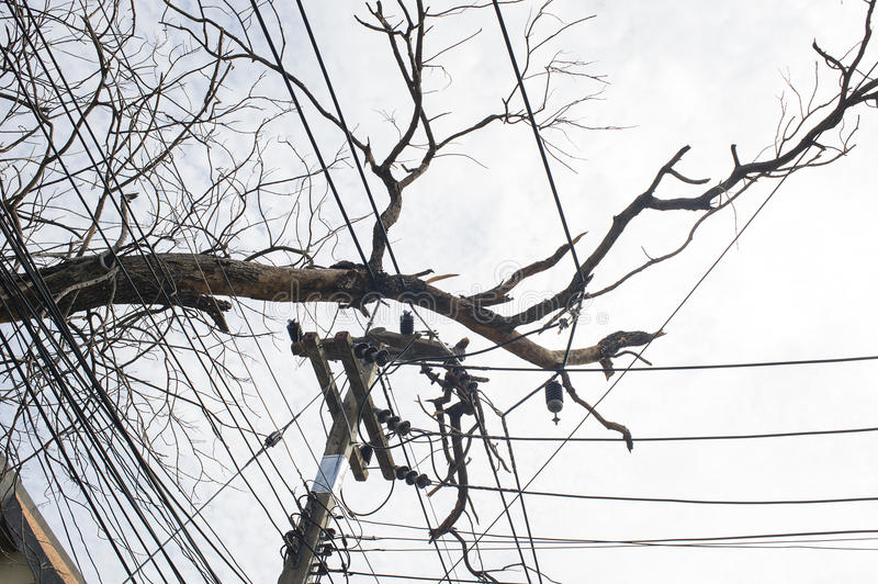 Electricity Damage. Damage electricity wire due storm came into city stock photos