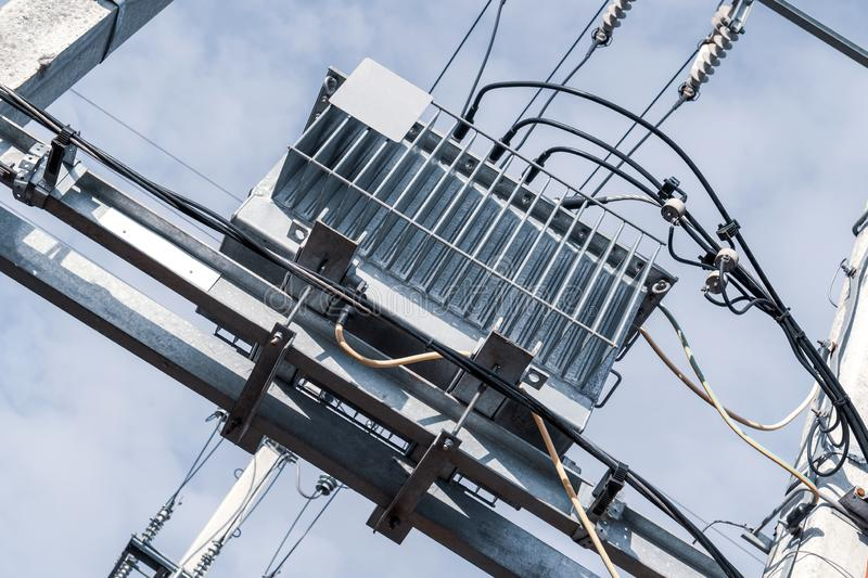 Electricity distribution transformer royalty free stock photo