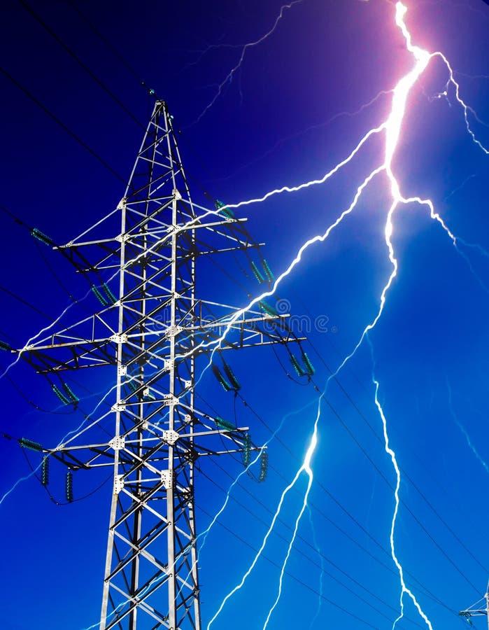 Electricity Energy Pylon with Lightning vector illustration