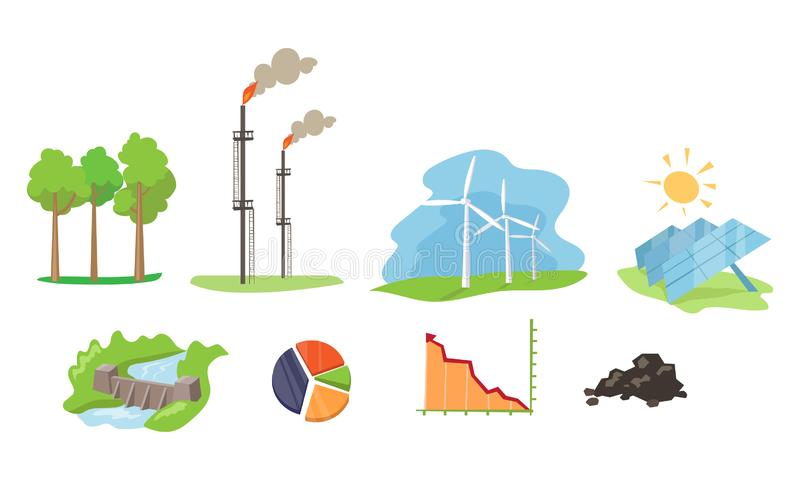 Electricity and energy sources set, wind, hydro, solar power generation facilities vector Illustration on a white royalty free illustration