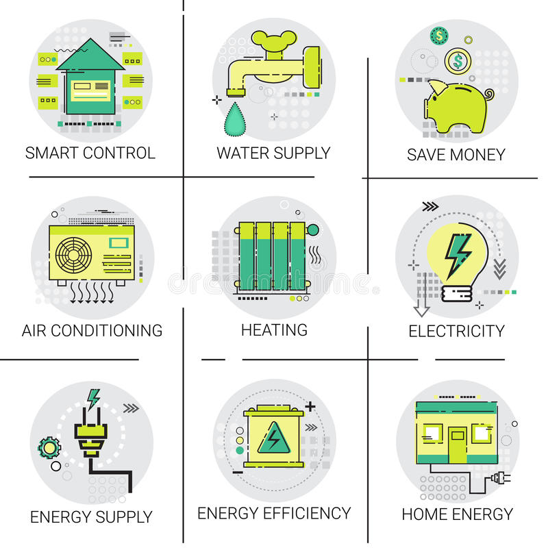 Electricity Energy Supply Power Invention, Heating, Smart Control, Air Conditioning Icon Set stock illustration