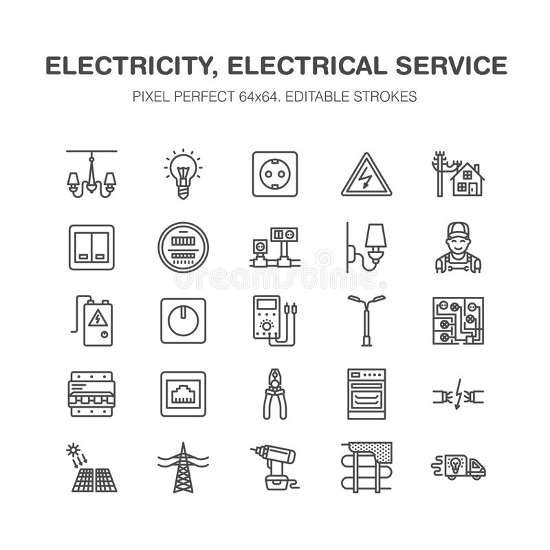 Electricity engineering vector flat line icons. Electrical. Equipment, power socket, torn wire, energy meter, lamp, multimeter Electrician services signs house stock illustration