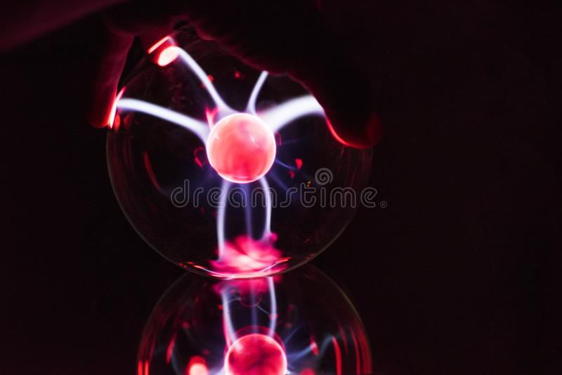 Electricity fire-ball. Abstract photo of electric waves. Static electricity royalty free stock photo