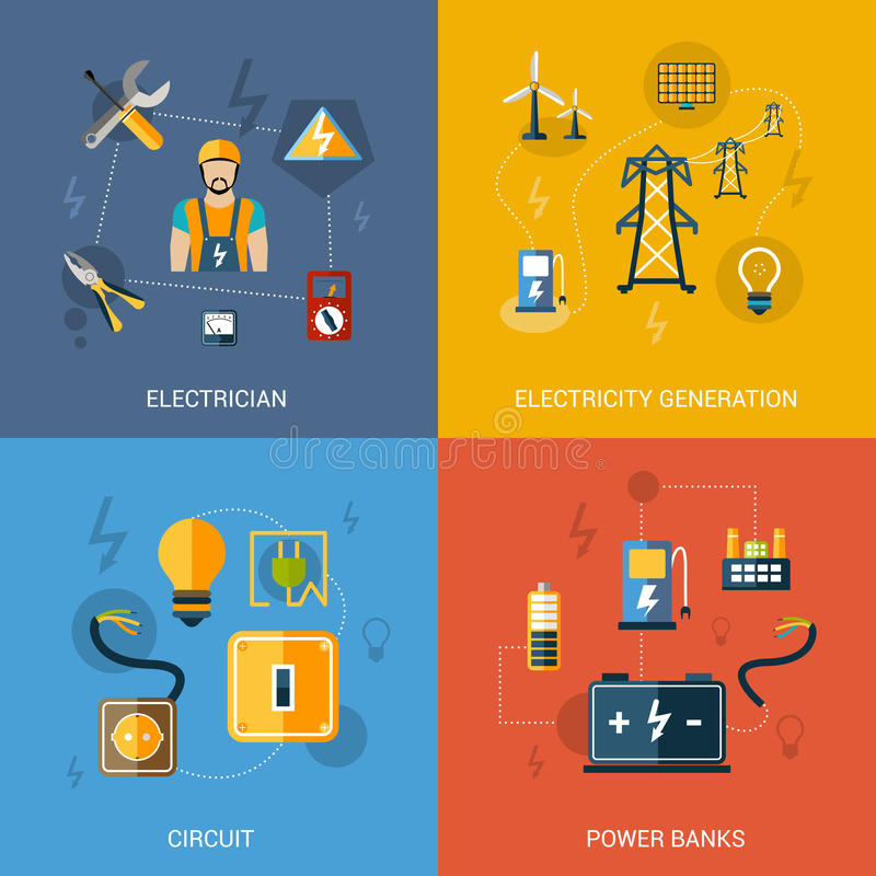 Electricity Flat Set vector illustration
