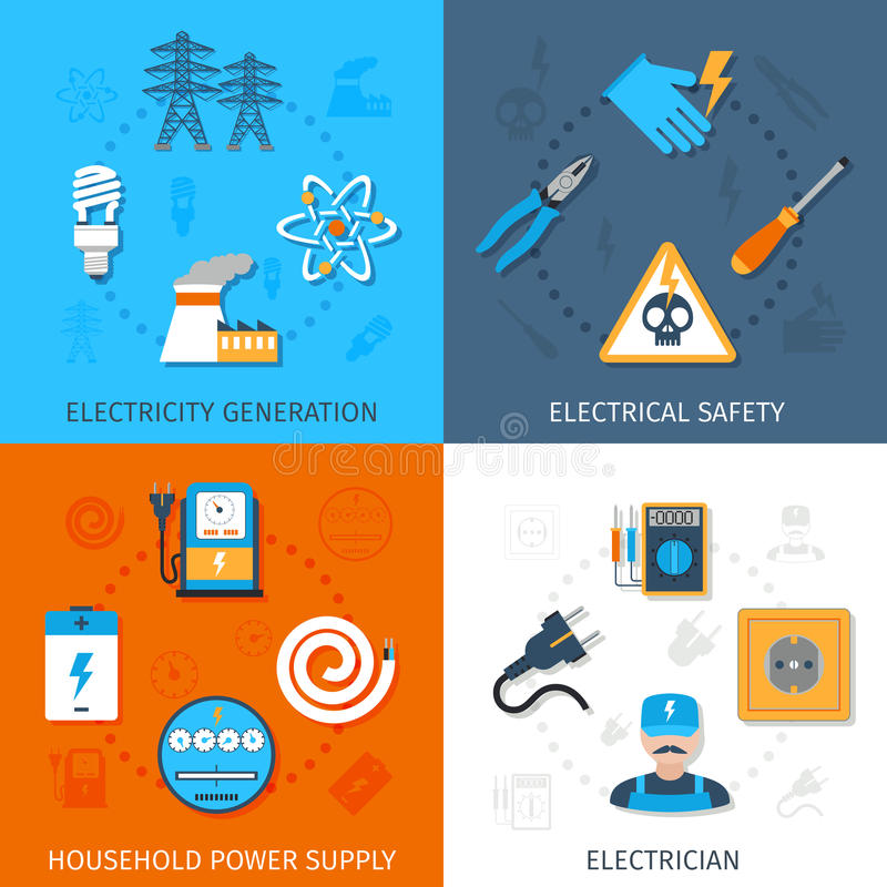 Electricity Flat Set royalty free illustration