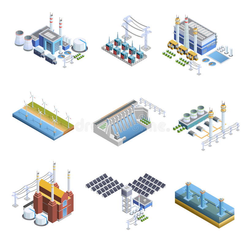 Electricity Generation Plants Images Set. Isometric images set of different types of electricity generation plants from gas turbine to solar vector illustration vector illustration