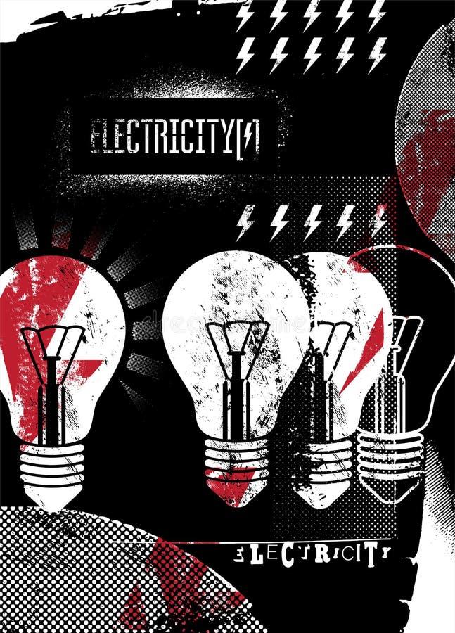 electricity grunge αφίσα αναδρομική επίσης corel σύρετε το διάνυσμα απεικόνισης ελεύθερη απεικόνιση δικαιώματος