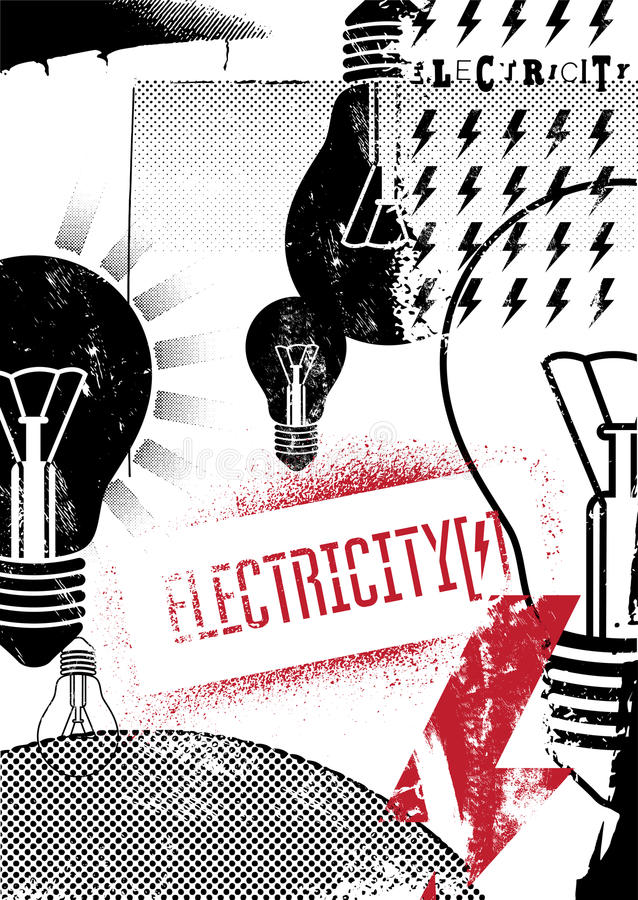 electricity grunge αφίσα αναδρομική επίσης corel σύρετε το διάνυσμα απεικόνισης απεικόνιση αποθεμάτων