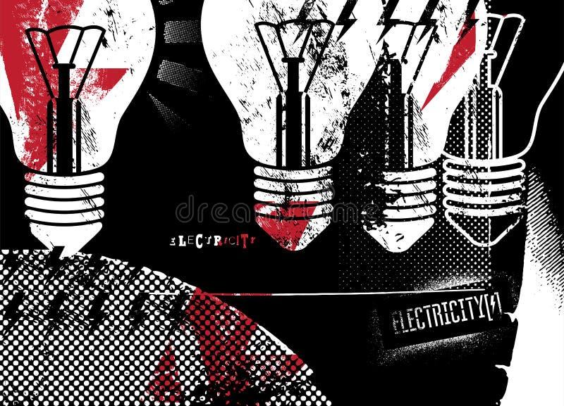 electricity grunge αφίσα αναδρομική επίσης corel σύρετε το διάνυσμα απεικόνισης διανυσματική απεικόνιση