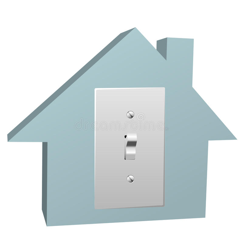 Electricity house switch on electric light at home. An electrical switch on a home symbol turns on electric light in a house stock illustration