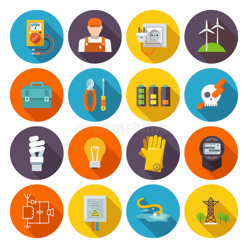 Electricity Icon Flat stock illustration