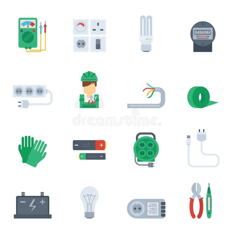 Electricity Icon Flat Set royalty free illustration