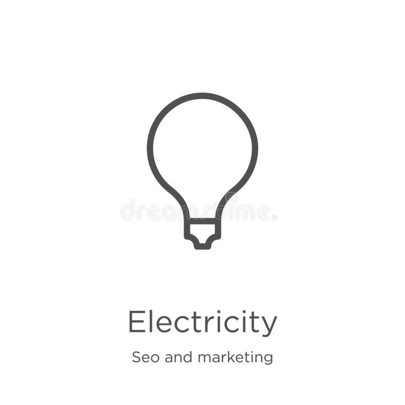 Electricity icon vector from seo and marketing collection. Thin line electricity outline icon vector illustration. Outline, thin. Electricity icon. Element of vector illustration