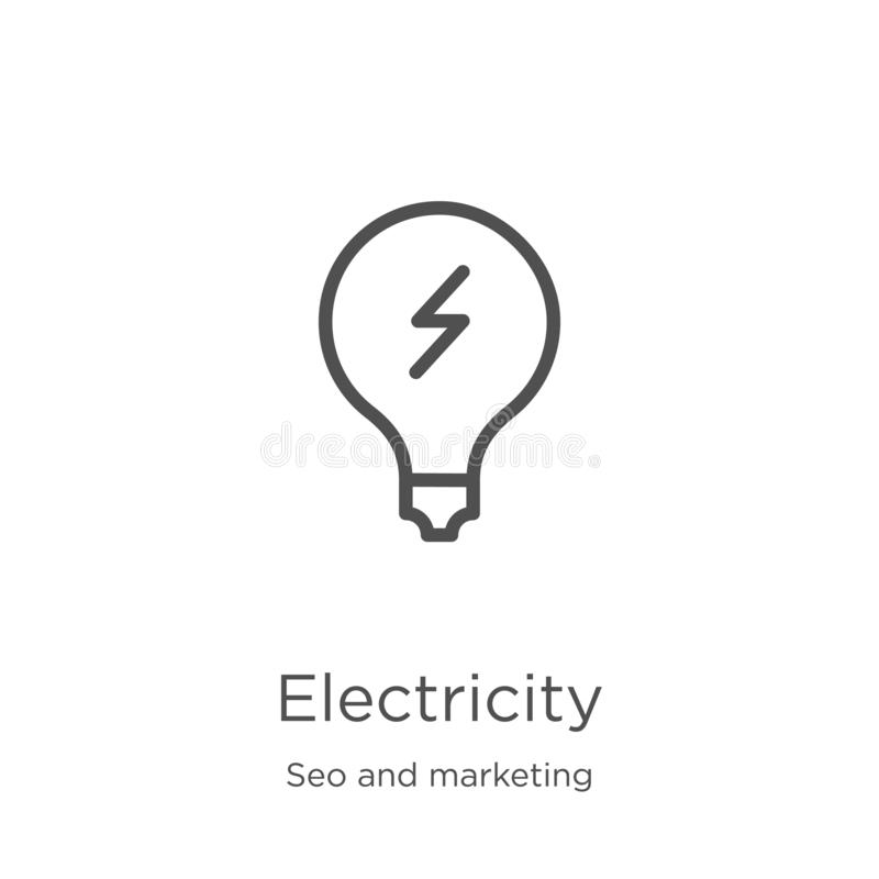 Electricity icon vector from seo and marketing collection. Thin line electricity outline icon vector illustration. Outline, thin. Electricity icon. Element of royalty free illustration
