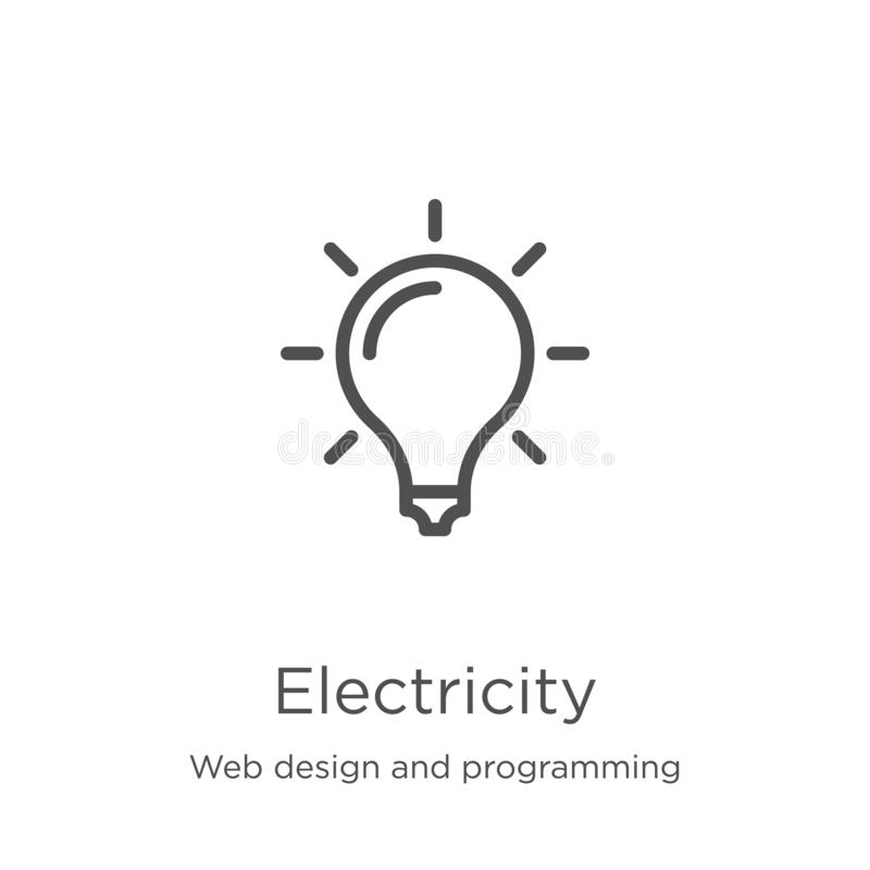 Electricity icon vector from web design and programming collection. Thin line electricity outline icon vector illustration. Electricity icon. Element of web stock illustration