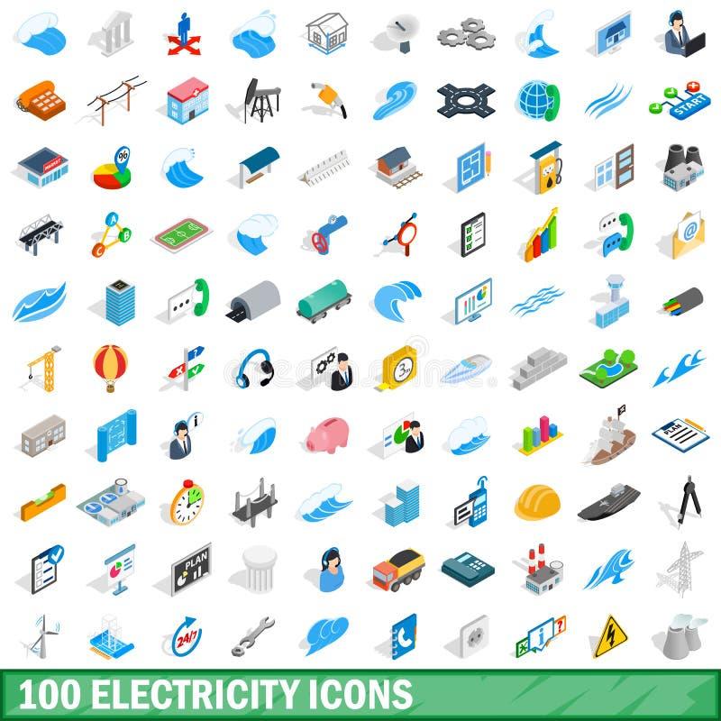100 electricity icons set, isometric 3d style stock illustration