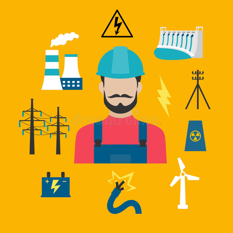Electricity industry concept with power icons. Electricity power industry flat concept design with electric stations of heat, hydro and wind energy, nuclear vector illustration