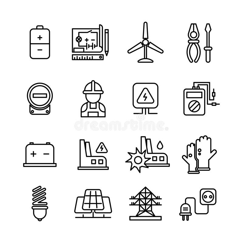 electricity industry  electrical engineering vector line icons stock vector
