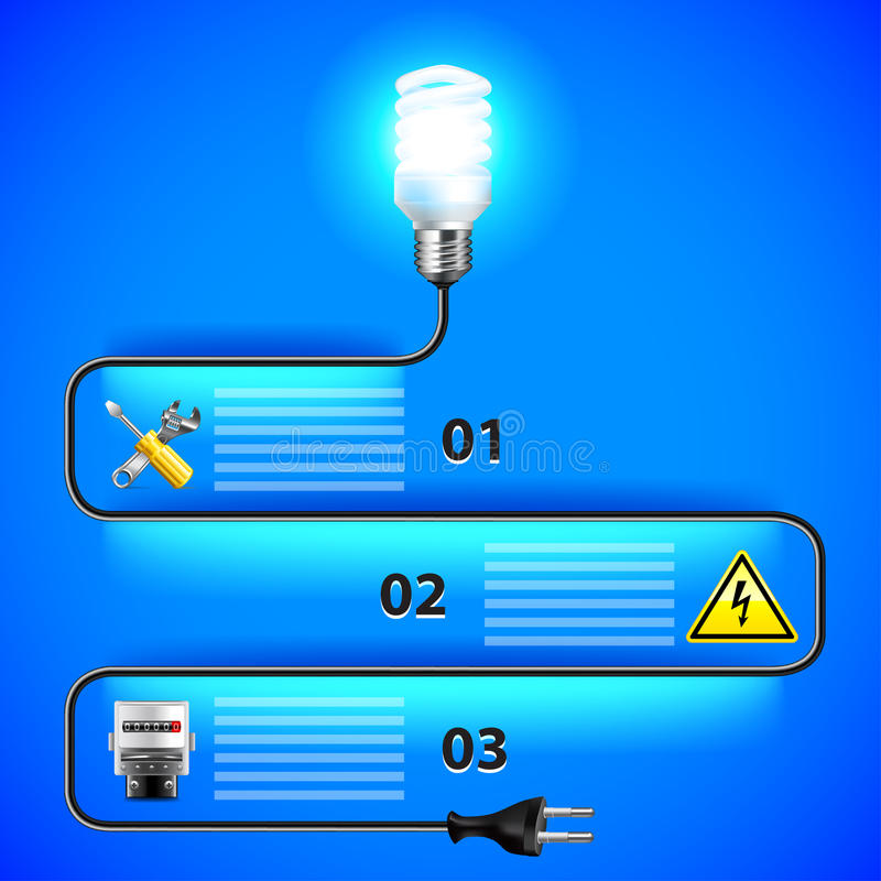 Electricity Infographics. Energy Saving Light Bulb And Wire Stock ...