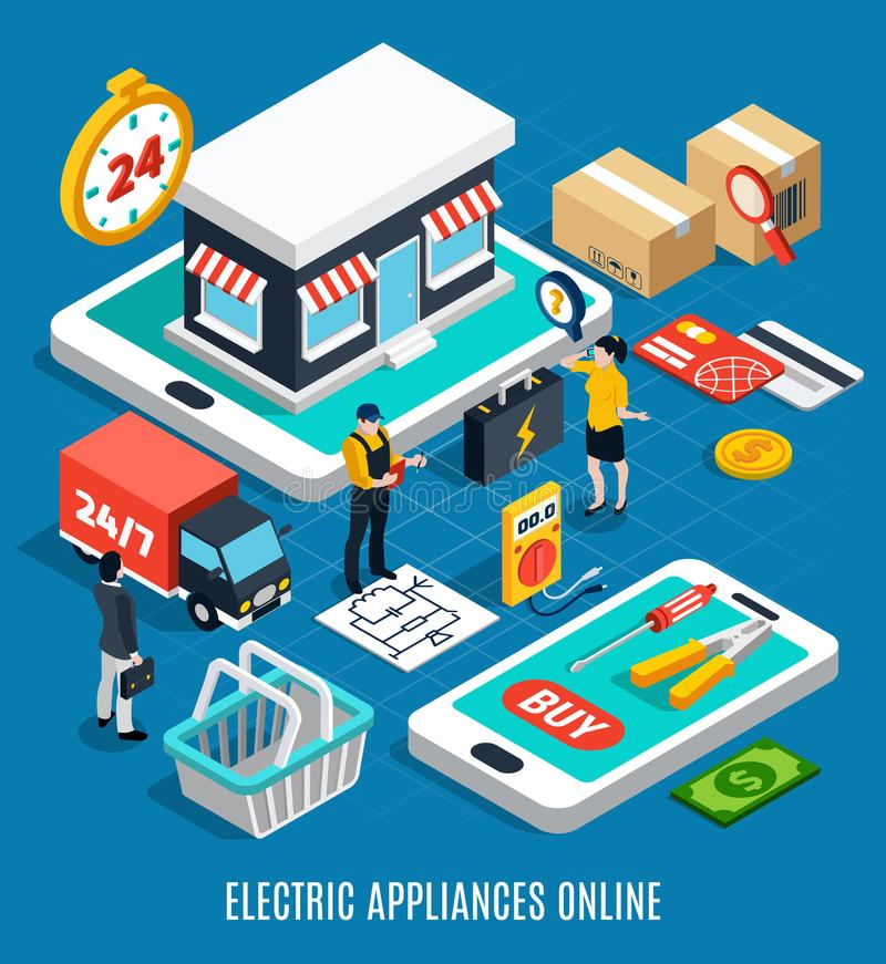 Electricity Isometric Colored 3d Composition stock illustration