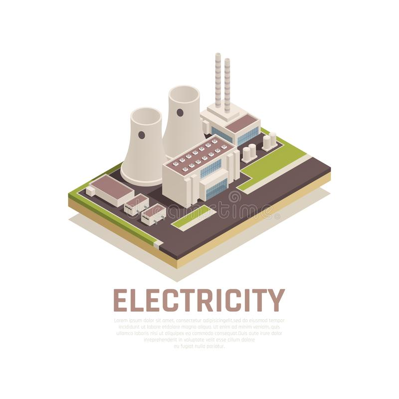 Electricity Isometric Concept royalty free illustration
