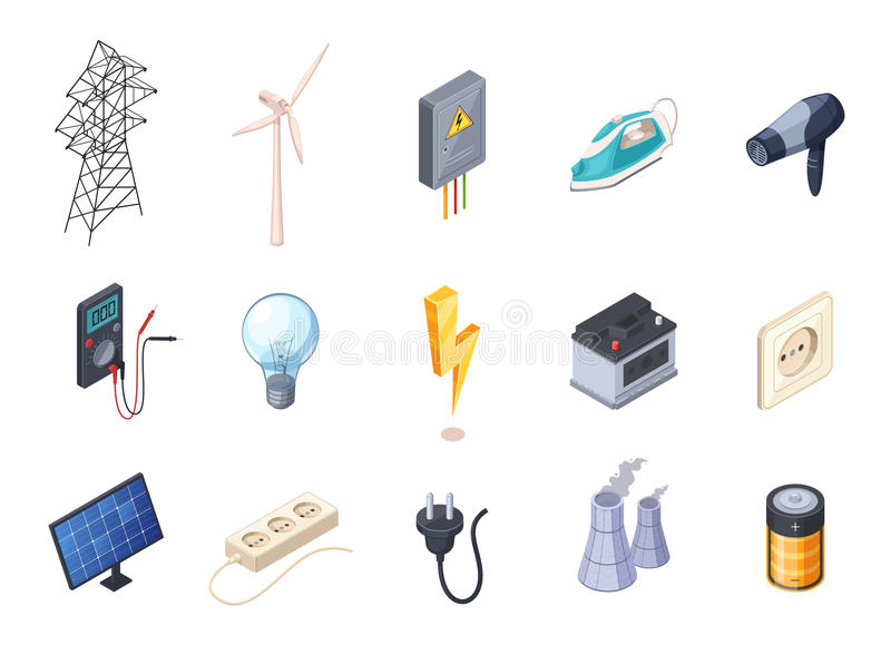 Electricity Isometric Icons Set stock illustration