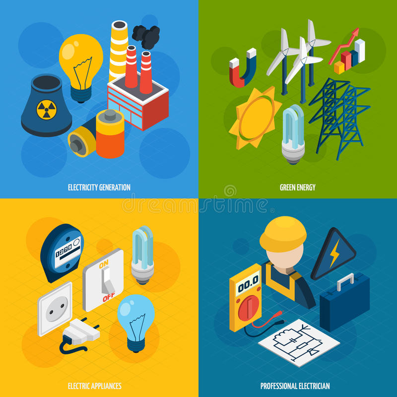 Electricity Isometric Set stock illustration