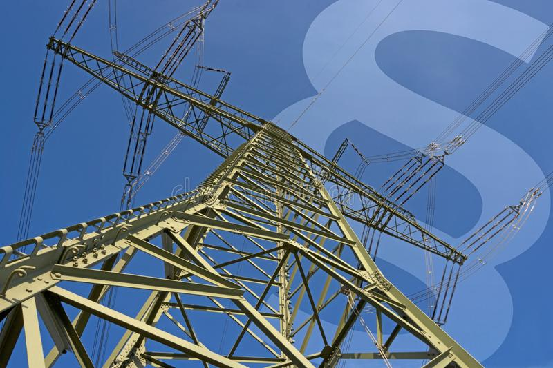Electricity and law. Illustration consisting of electricity pylon and paragraph symbol stock photography