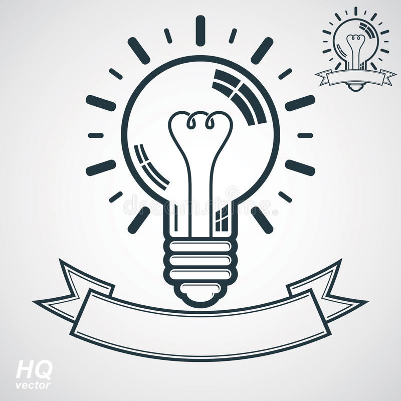 Electricity light bulb symbol, insight emblem. Vector brain storm conceptual icon - corporate problem solution theme. stock illustration