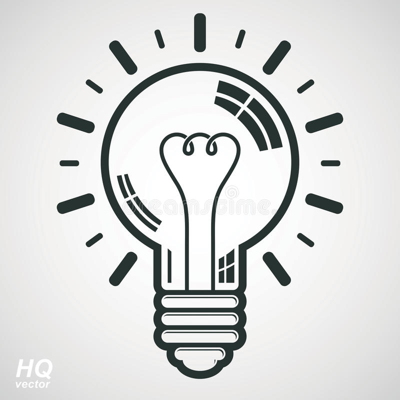 Electricity Light Bulb Symbol On White Background. Vector Brain ...