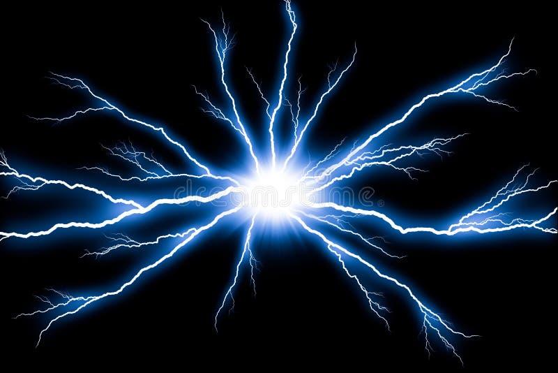 Electricity Lightning flash thunder isolated. On black background royalty free stock photo
