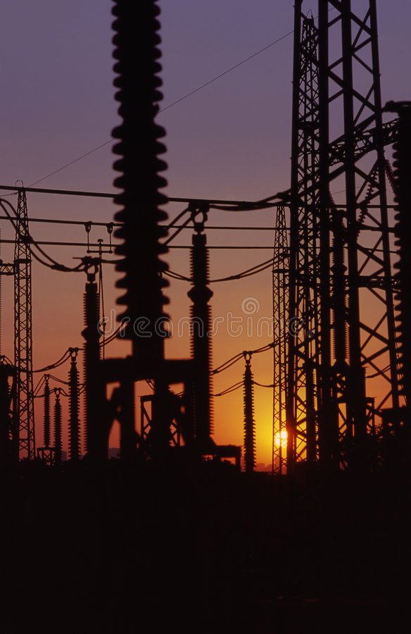 Download Electricity lines at dusk stock image. Image of electricity - 2145913