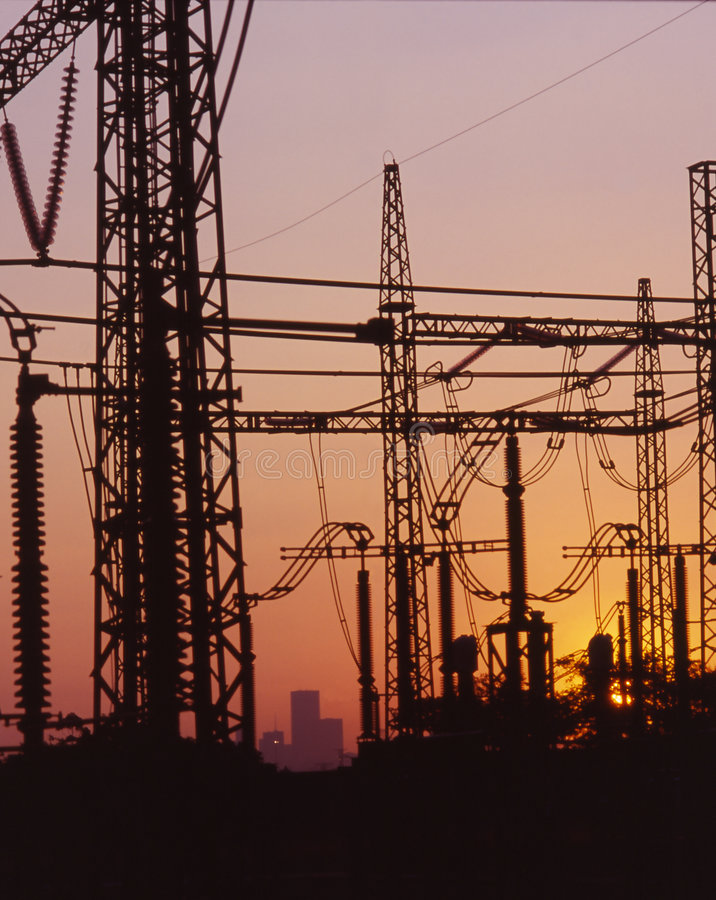 Download Electricity lines at dusk stock image. Image of pylons - 358075