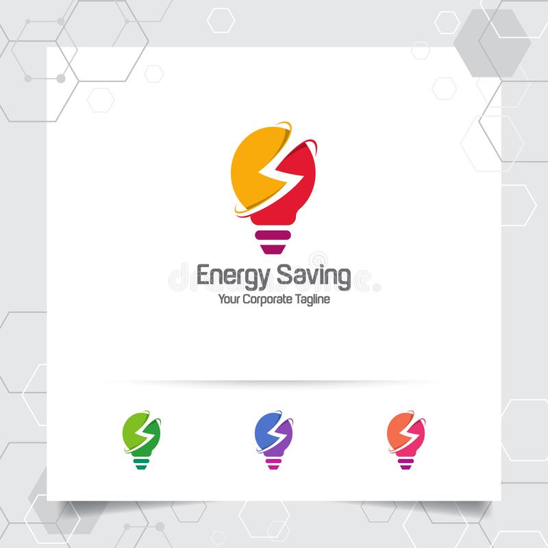 Electricity logo bulb design concept of electric symbol vector and lamp icon. Energy logo used for power plants and electric stock illustration
