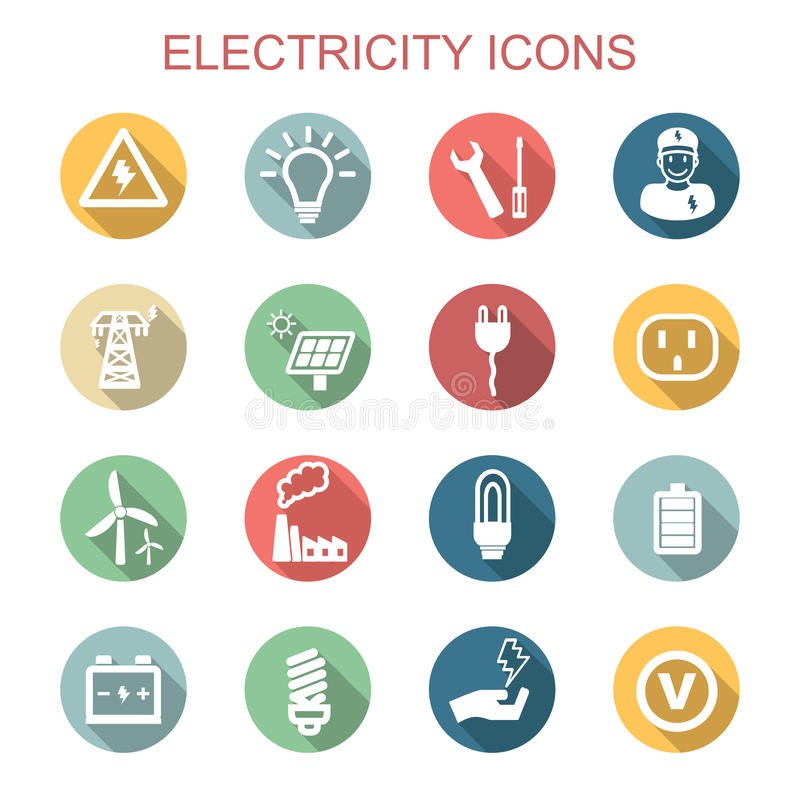 Electricity long shadow icons royalty free illustration