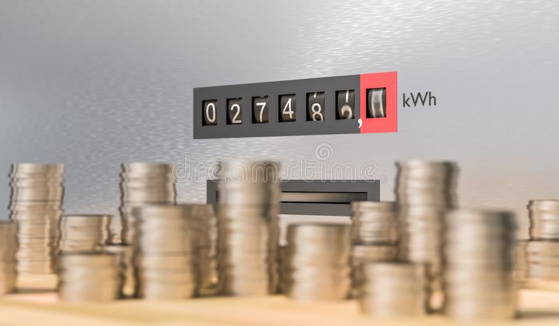Electricity meter with many coins. Expensive energy and power consumption concept. 3D rendered illustration.  royalty free illustration