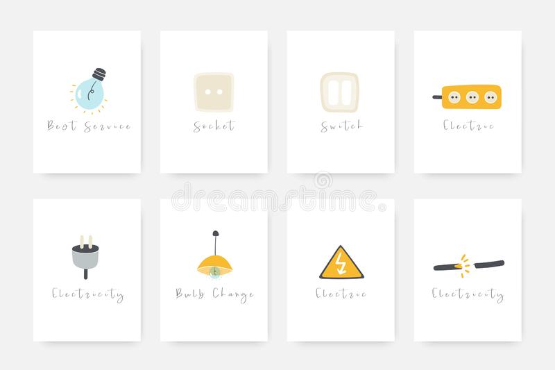 Electricity object collection including electric bulb, light switch, danger sign, lamp, broken wire, socket stock illustration