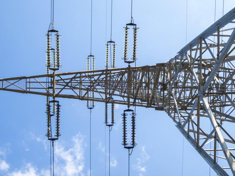 Electricity pillar. High-voltage line stock photos